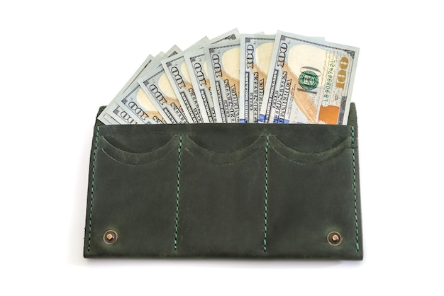 Wallet with dollars inside. isolated.