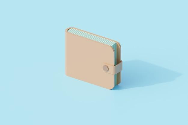 革の皮の単一の孤立したオブジェクトが付いている財布。 3dレンダリング