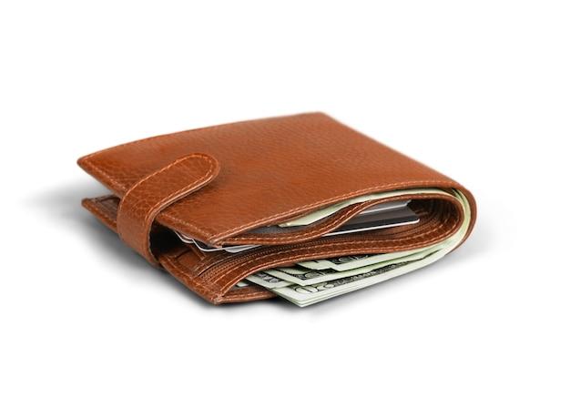 Кошелек с деньгами и кредитными картами