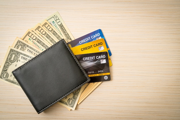 Wallet with money and credit card