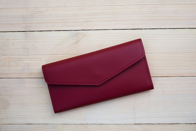 Wallet on the wooden table