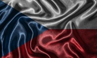 チェコ共和国の旗と布で旗を振って壁紙です。