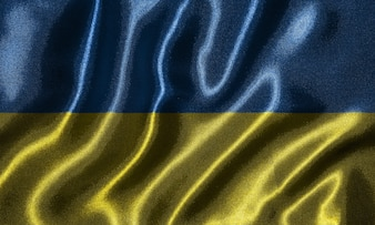 Wallpaper by Ukraine flag and waving flag by fabric.