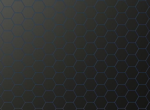 マットブラックの六角形と青いネオンの光で形成された壁紙。