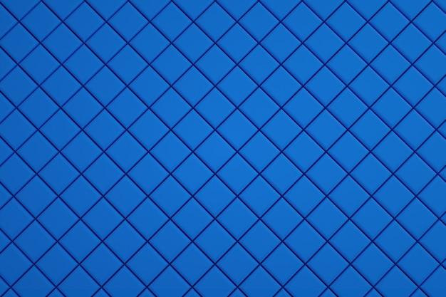 벽지, 파란색 타일이 배치 된 그림, 타일로 만든 작은 파란색 사각형. 바닥 깔개, 부엌, 수영장. 3d 그래픽, 일러스트레이션