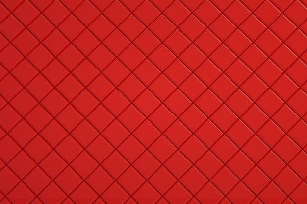 壁紙、小さな正方形のタイル。装飾、浴室、台所または他のためのコーティング。赤いコーティング、3dグラフィックス