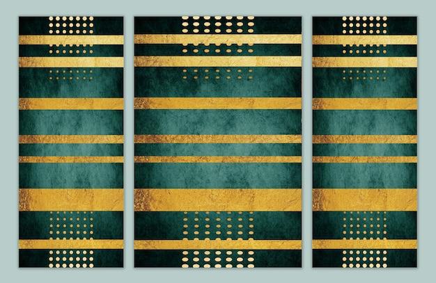 벽 프레임 캔버스에 적합한 벽지는 어두운 현대적인 배경을 가진 황금 물체를 인쇄합니다.