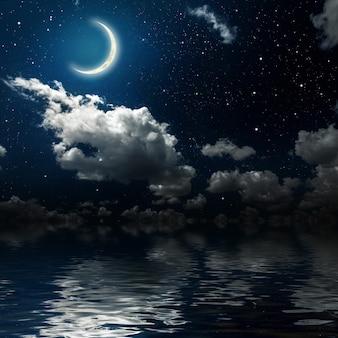 星と月と雲のある夜空の壁。