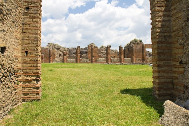 Walls of pompeii in summer day, italy