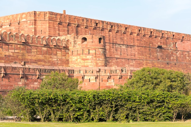 Walls of red agra fort in agra, india