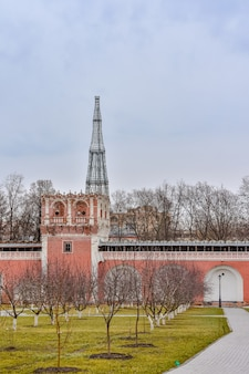 Walls and watchtowers of the donskoy monastery in moscow