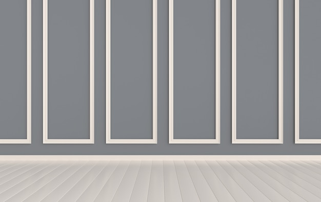Стены с декоративными лепными панелями и деревянный пол классический карниз