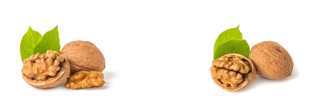 Плоды грецкого ореха лежат на белом изолированном фоне. очищенный грецкий орех и зеленые листья с тенью. белый изолятор для дизайна и вставки проекта