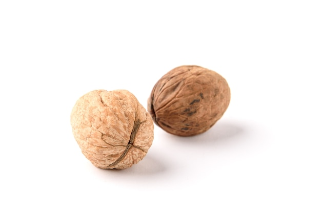 Walnut isolated on white surface.