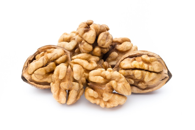 Walnut and walnut kernel isolated.