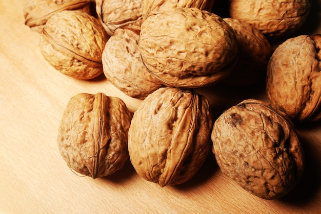 Walnuts are scattered
