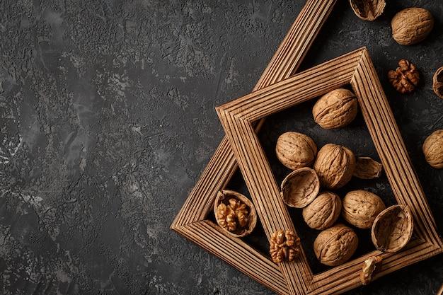 Walnuts framed on wooden