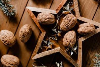 Walnuts in a star frame wallpaper