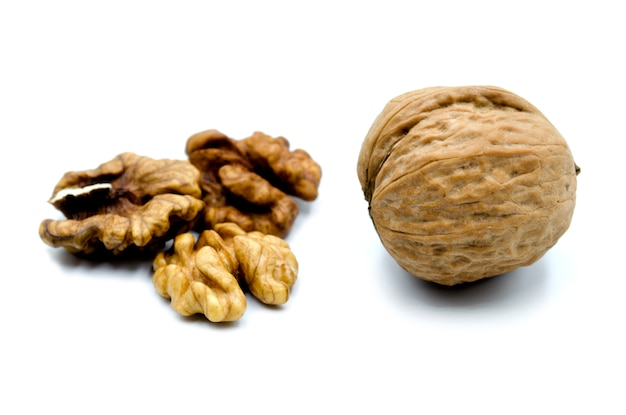 Walnuts isolated on the white wall