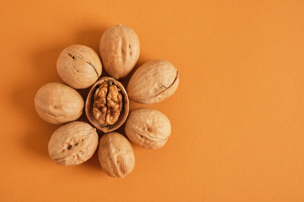 Walnuts pattern on brown background, top view copy space walnuts in shell and without shell are laid out in the shape of a flower