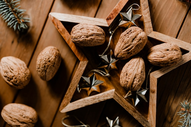 Walnuts in a star frame wallpaper