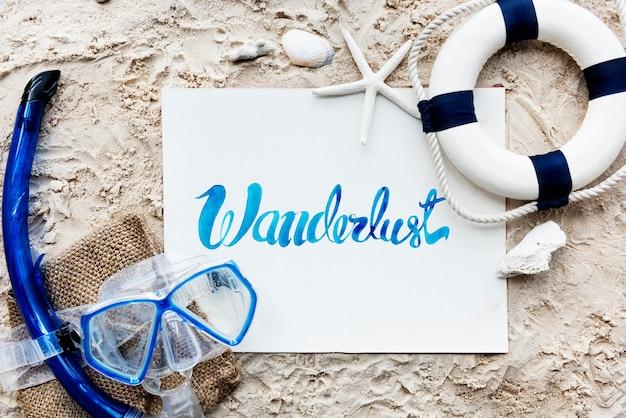 夏の旅行旅行バケーションwanderlustのビーチコンセプト