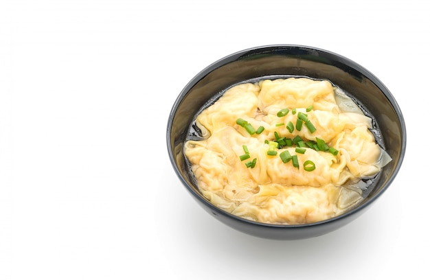 Wanton soup on white