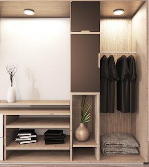 Wardrobe shelf wooden japanese style and decoration plants on shelf.3d rendering