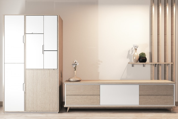 Wardrobe wooden design and cabinet tv wooden japanese design on room minimal interior
