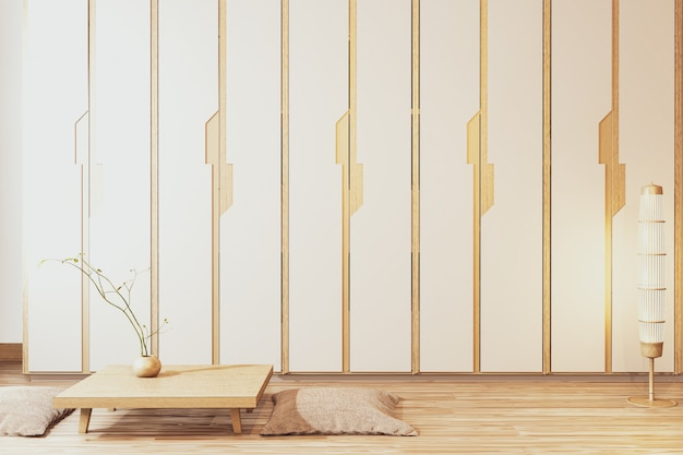 Wardrobe wooden japanese style with low table wooden and sit pillowon empty room minimal interior.3d rendering