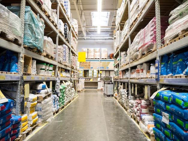 Warehouse of building materials in industiral store