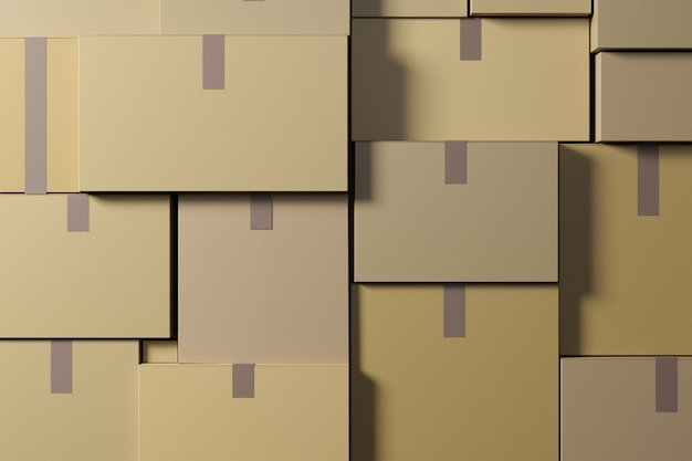 The warehouse contains cardboard boxes. logistics and delivery concept. 3d rendering