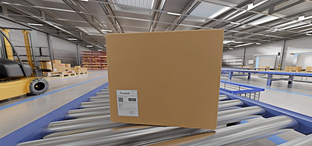 Warehouse goods stock background 3d rendering