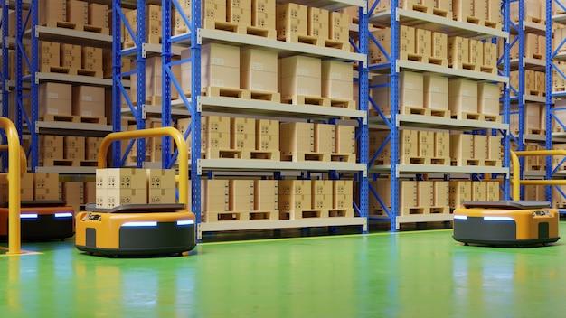 Склад в логистическом центре с автоматизированным транспортным средством. является транспортным средством доставки.