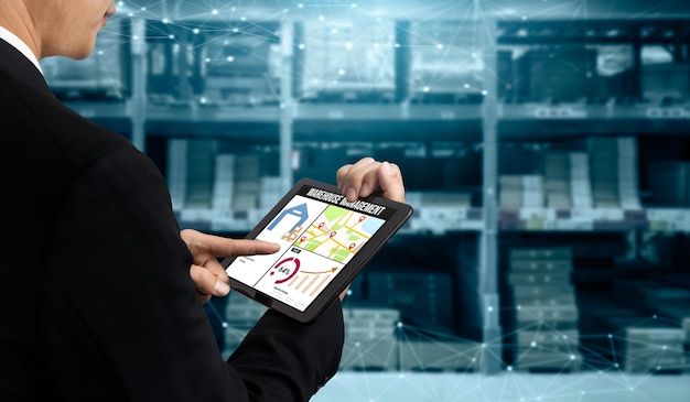 Warehouse management innovative software in computer for real time monitoring