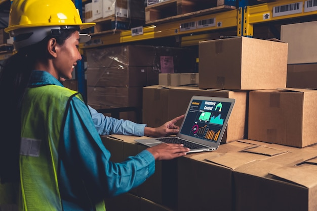 Warehouse management software application in computer for real time monitoring