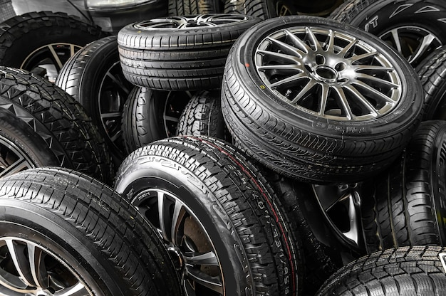 Warehouse, shop of tires of different sizes