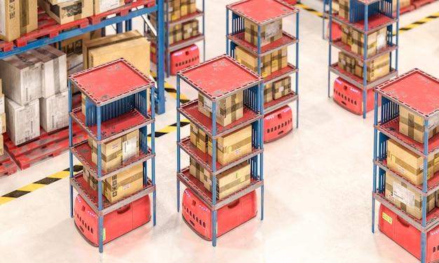 Склад с товарами в ящиках и автоматизированными средствами, перемещающими ящики. 3d визуализация. концепция современной индустрии.