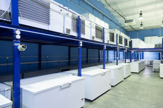 Warehouse with white refrigerators