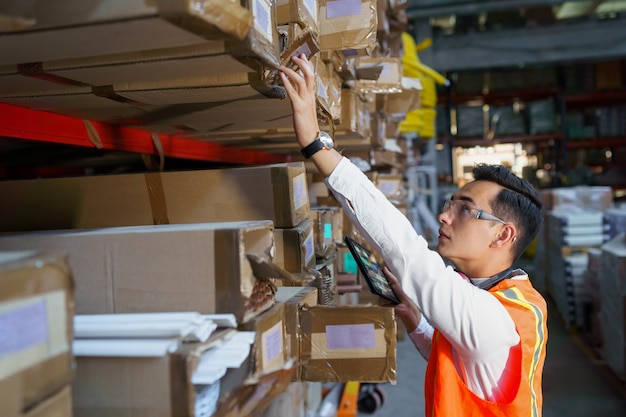 Warehouse worker looking for goods