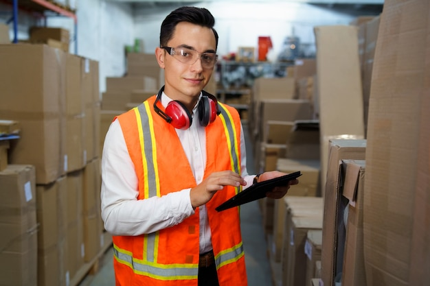 Warehouse worker with a table