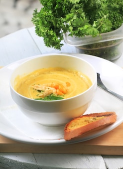 Warm chicken soup, delicious meal eaten in the morning