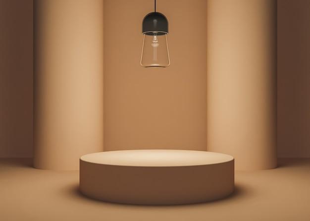 Стенд для товаров теплого цвета с двумя цилиндрическими колоннами и стеклянной лампой, освещающей сцену. 3d рендеринг