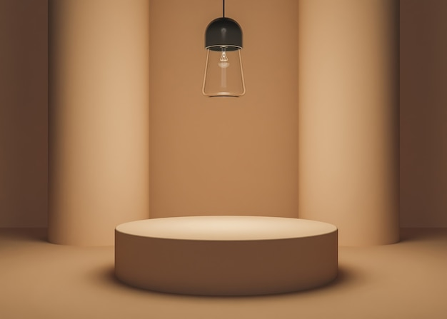 Warm colored product stand with two cylindrical columns and glass lamp illuminating the scene. 3d rendering