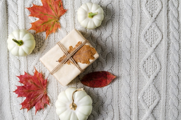 Warm cozy autumn concept. white pumpkins and gifts in kraft paper on beige knitted background, copy space