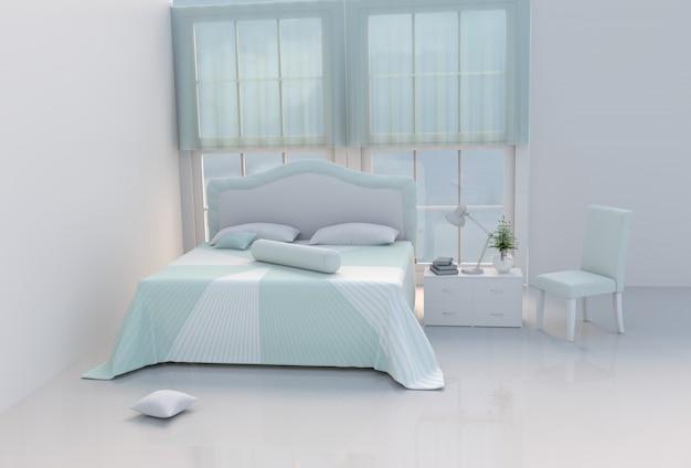 Теплая зеленая комната кровати на счастливый день. 3d визуализация.
