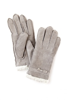 Warm grey gloves with the fur for the cold winter weather