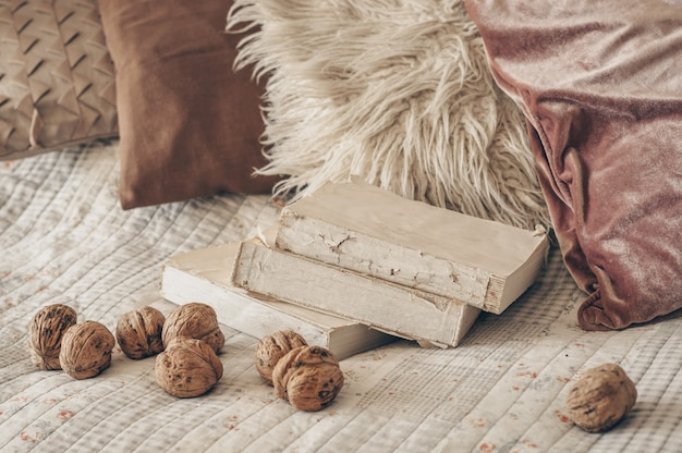 Теплый интерьер гостиной с раскрытой книгой с грецкими орехами. читай, отдыхай. концепция зимних выходных. уютная осенняя или зимняя концепция.