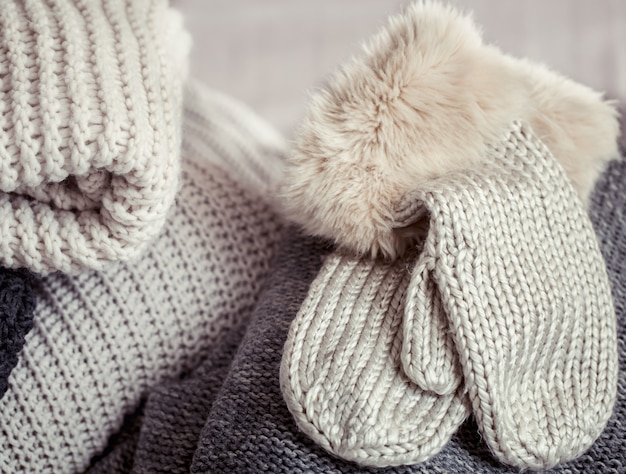 Warm knitted clothes