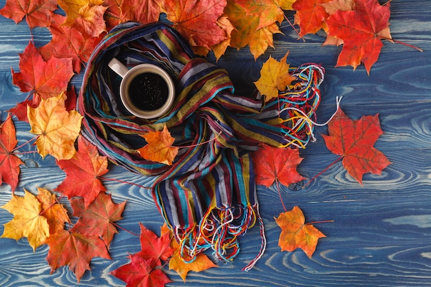 Warm knitted scarf and cup of coffee on rustic wooden table with colorful fall maple leaves